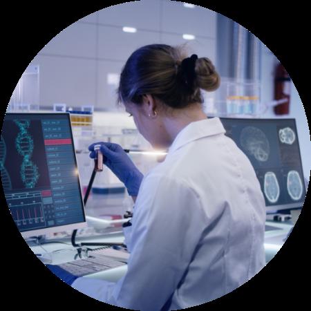female scientist examining medical sample