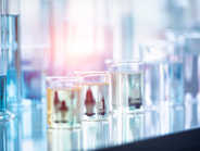 beakers with fluids in a laboratory